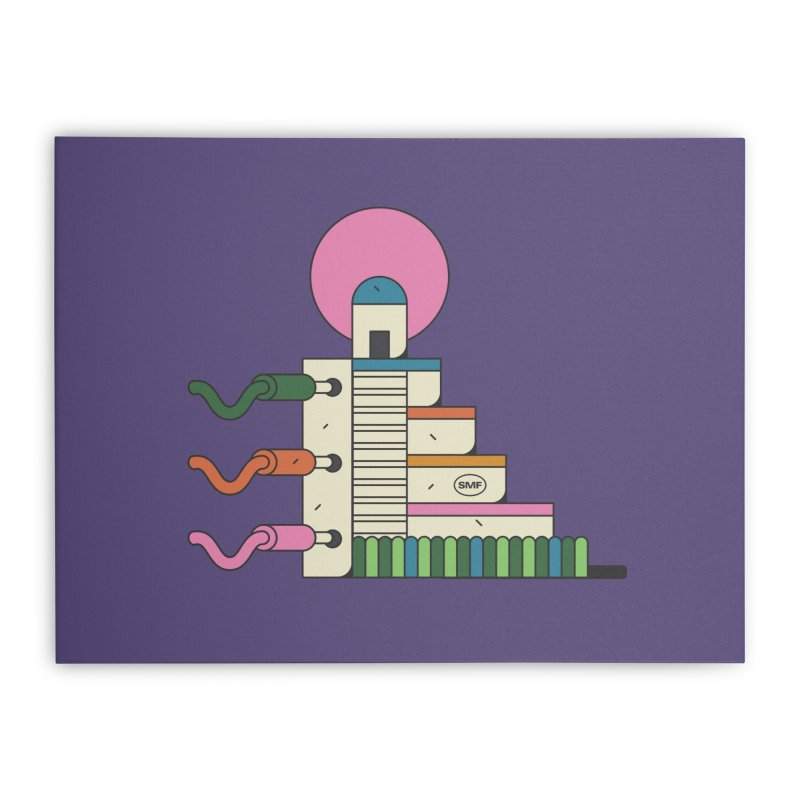 Mayan synth temple Home Stretched Canvas by Super Magic Friend Store