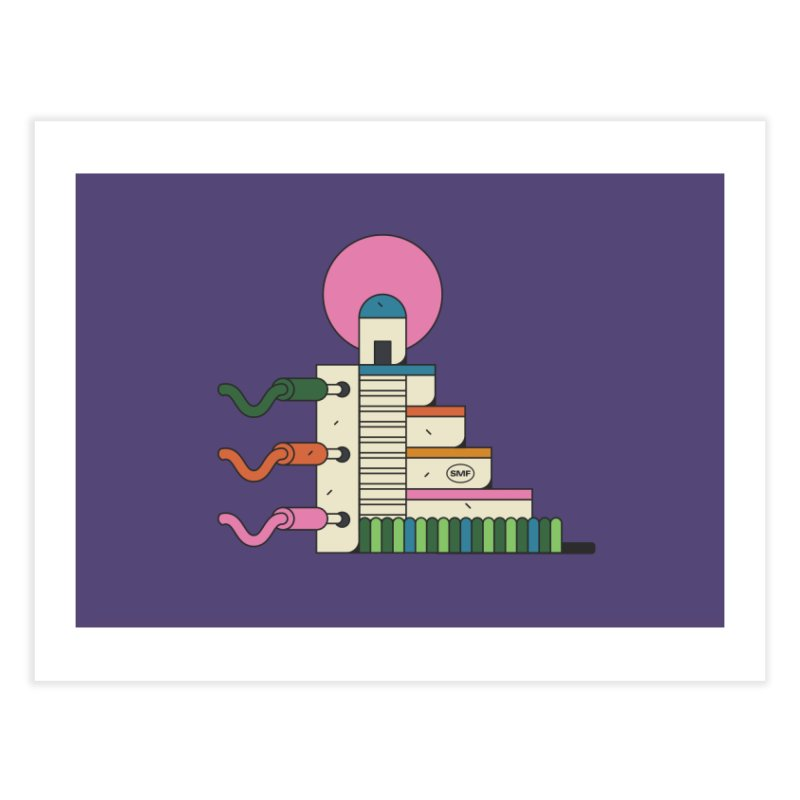 Mayan synth temple Home Fine Art Print by Super Magic Friend Store