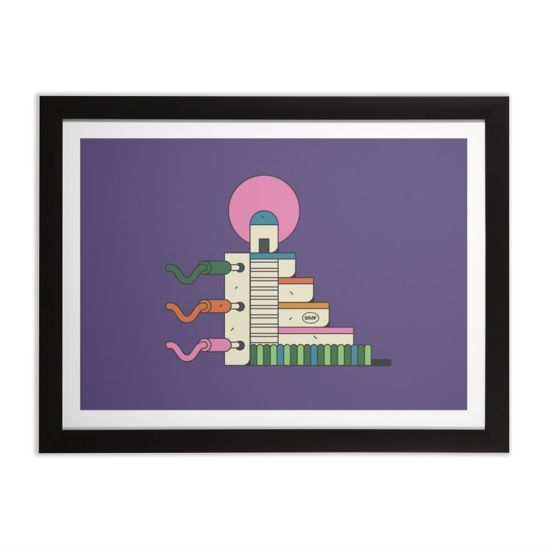 Mayan synth temple Home Framed Fine Art Print by Super Magic Friend Store