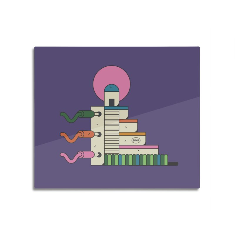 Mayan synth temple Home Mounted Aluminum Print by Super Magic Friend Store