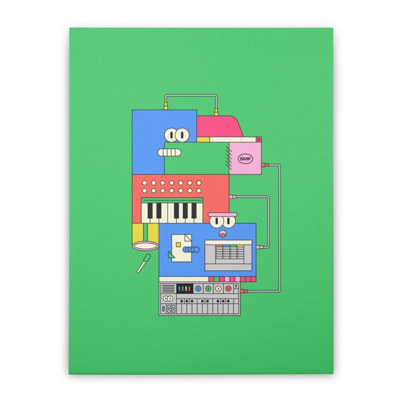 SYNTH Home Stretched Canvas by Super Magic Friend Store