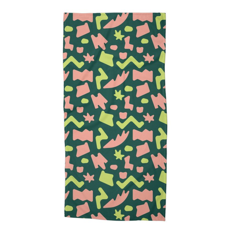 Neon garden Accessories Beach Towel by Super Magic Friend Store
