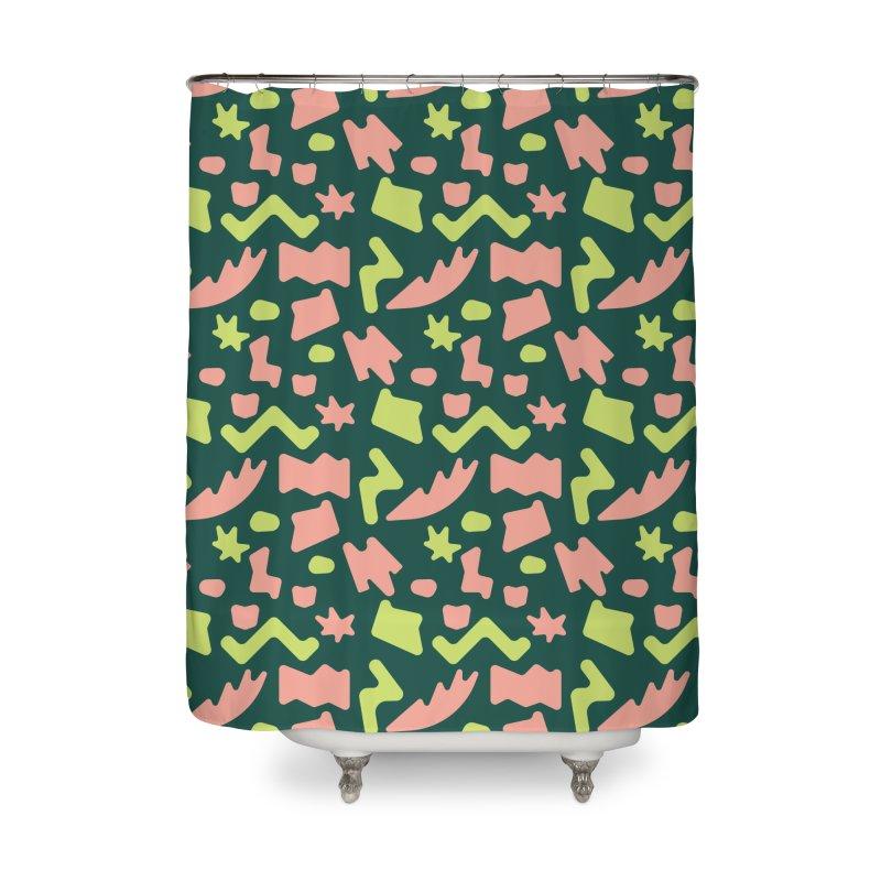Neon garden Home Shower Curtain by Super Magic Friend Store