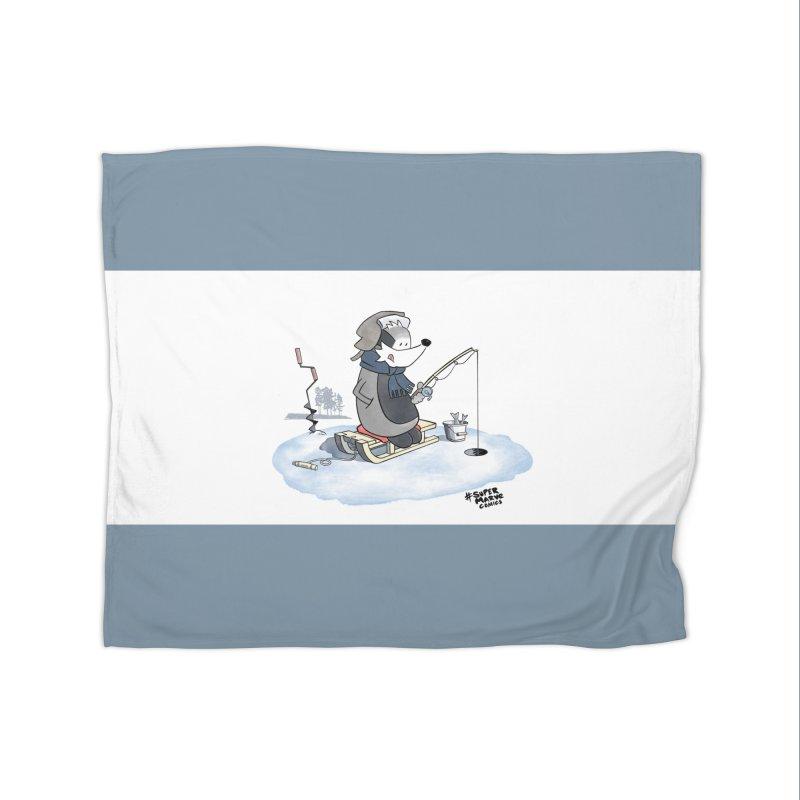 Ice Fishing Badger Home Blanket by Super Marve Shop