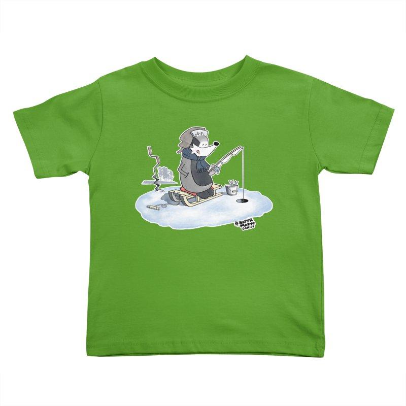 Ice Fishing Badger Kids Toddler T-Shirt by Super Marve Shop