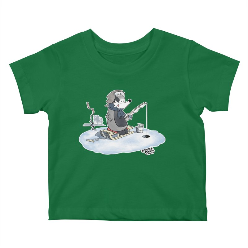 Ice Fishing Badger Kids Baby T-Shirt by Super Marve Shop