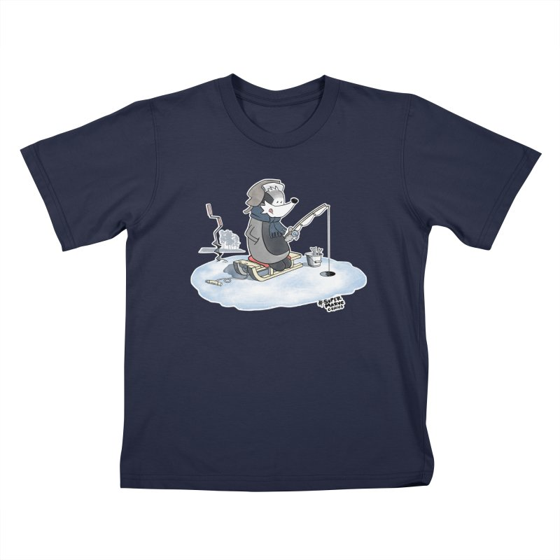 Ice Fishing Badger Kids T-Shirt by Super Marve Shop