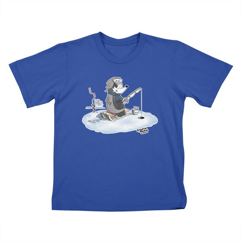Ice Fishing Badger Kids T-Shirt by Super Marve Shop