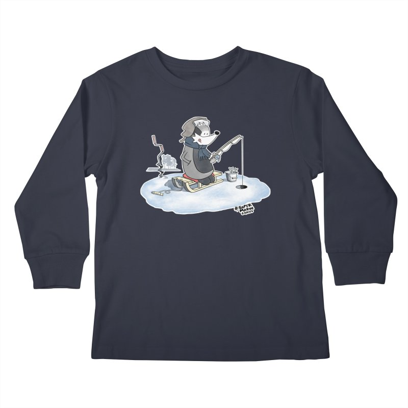 Ice Fishing Badger Kids Longsleeve T-Shirt by Super Marve Shop