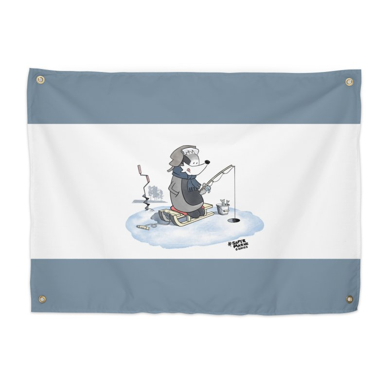 Ice Fishing Badger Home Tapestry by Super Marve Shop