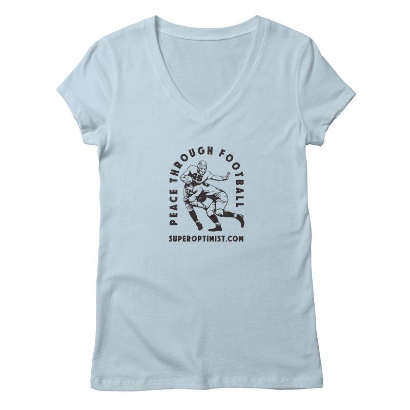 Peace Through Football Women's V-Neck by SuperOpt Shop