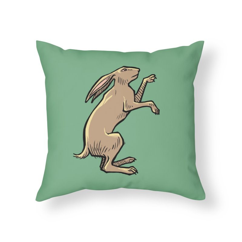 the Hare Home Throw Pillow by Supersticery Shop