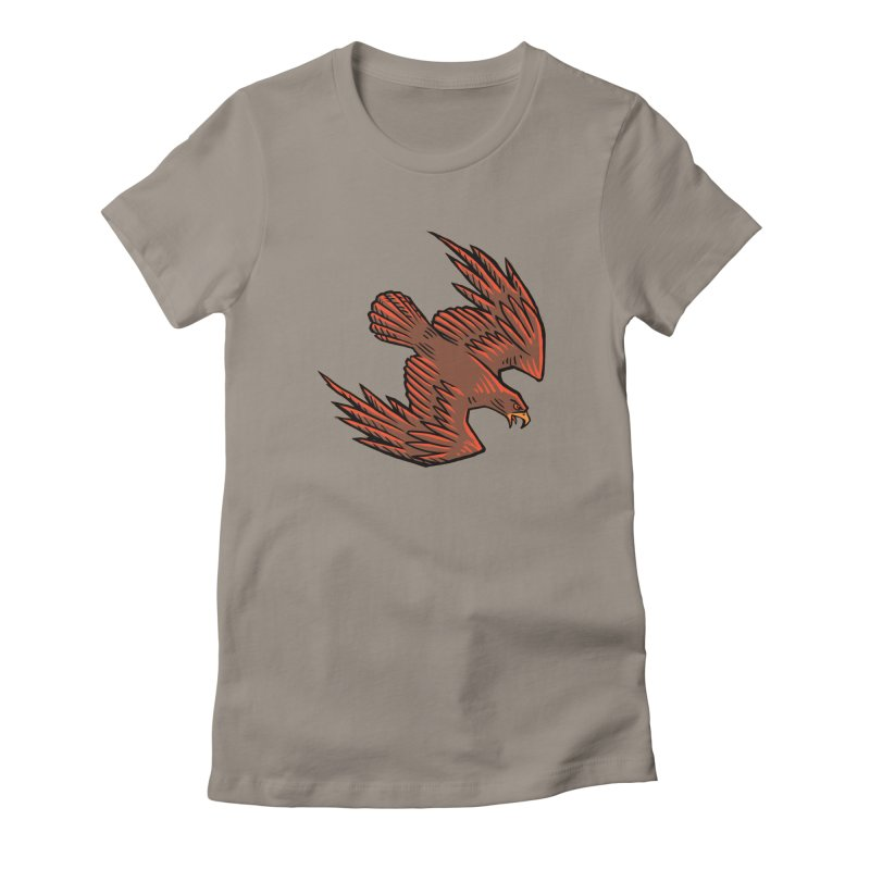 the Hawk in Women's Fitted T-Shirt Warm Grey by Supersticery Shop