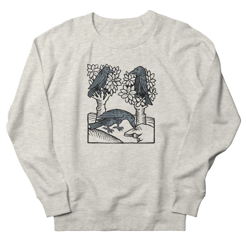 3 Ravens in Women's French Terry Sweatshirt Heather Oatmeal by Supersticery Shop