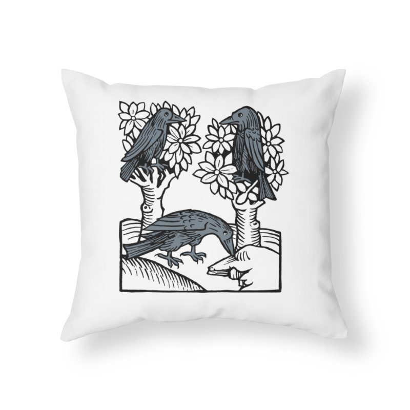 3 Ravens Home Throw Pillow by Supersticery Shop