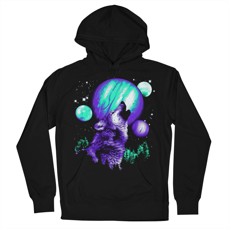 Space Wolf Men's French Terry Pullover Hoody by Sushilove's Store
