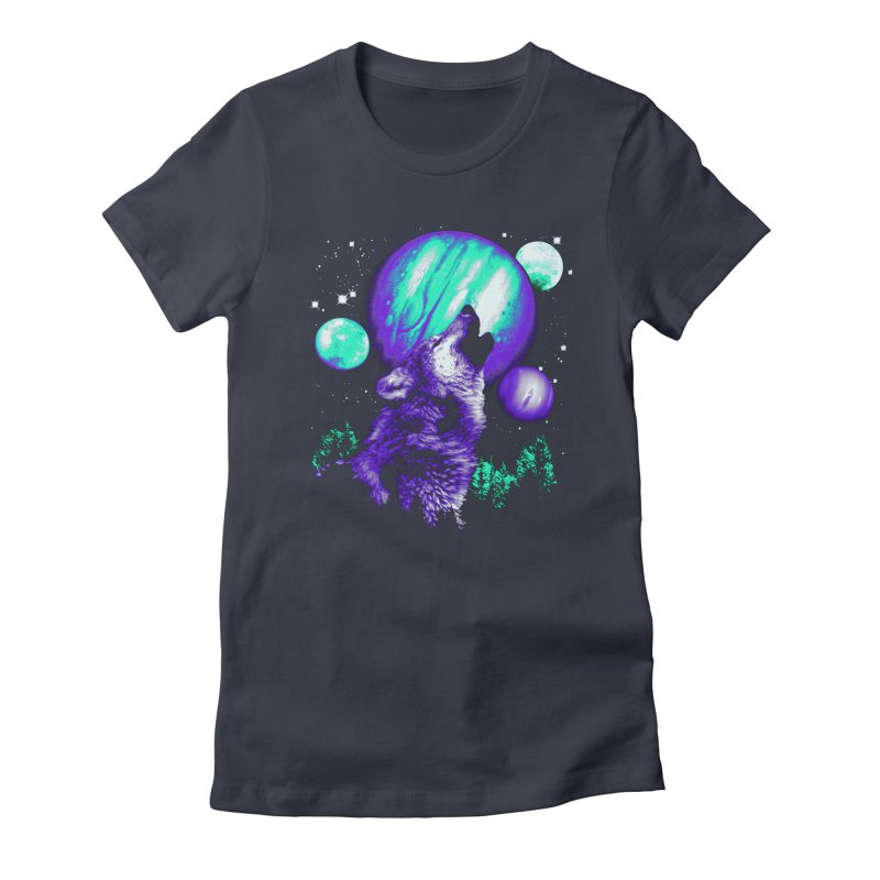 Space Wolf Women's Fitted T-Shirt by Sushilove Official Store