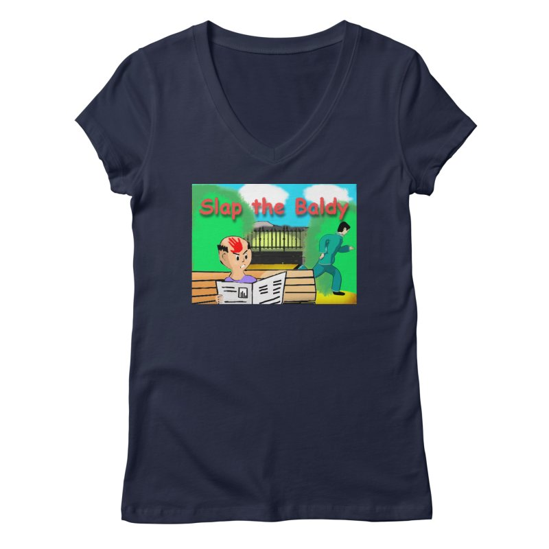 Slap the Baldy Women's Regular V-Neck by SushiMouse's Artist Shop