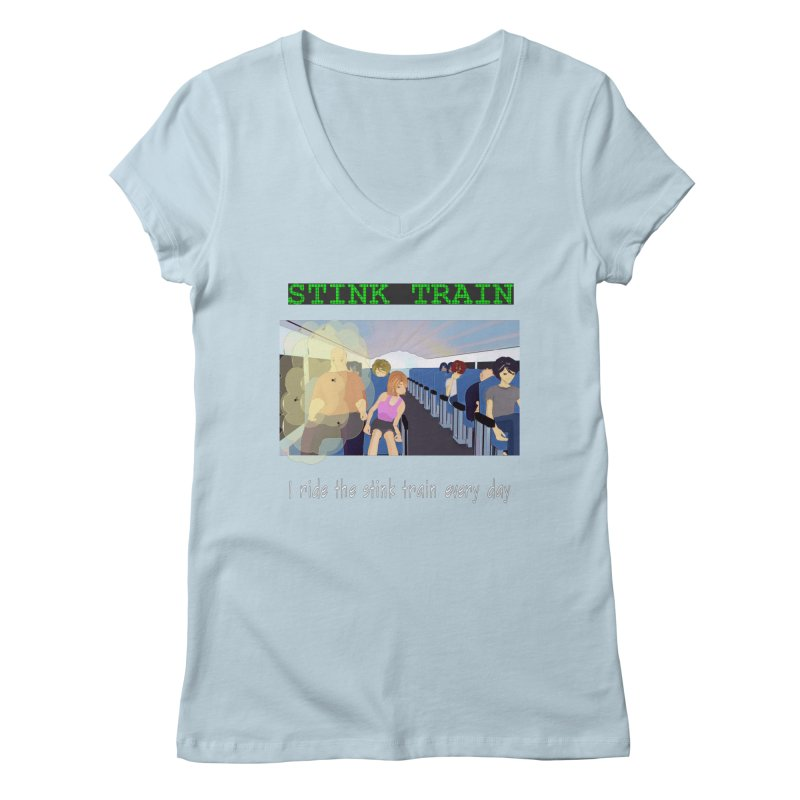 Stink Train - the Puzzle game where you have to avoid the smelly passengers Women's V-Neck by SushiMouse's Artist Shop