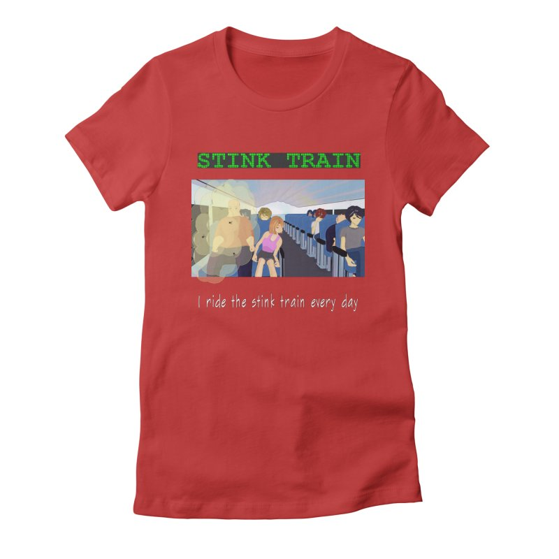 Stink Train - the Puzzle game where you have to avoid the smelly passengers Women's Fitted T-Shirt by SushiMouse's Artist Shop