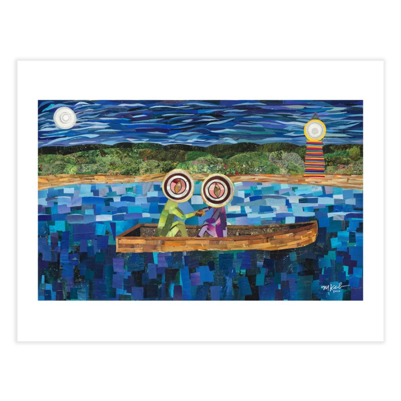 Original artwork:  Two Men in a Boat (prints and stickers) Fine Art Prints Fine Art Print by Susquehanna Alchemy's SWAG Shop