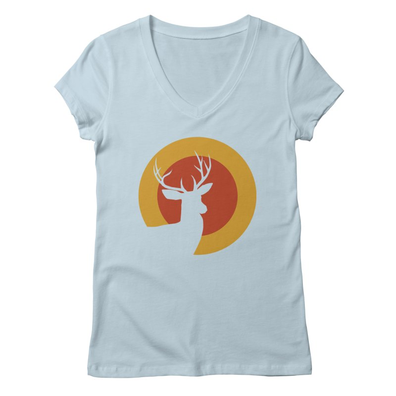 deer in sunny day Women's V-Neck by sustici's Artist Shop