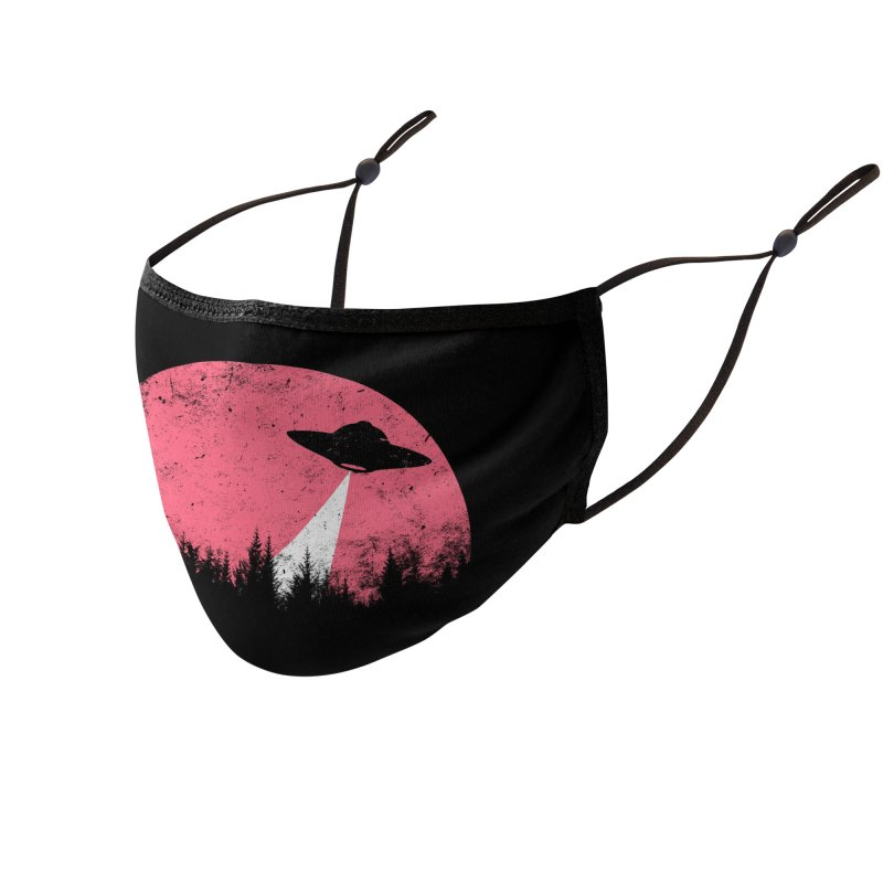 UFO in a pink night Accessories Face Mask by sustici's Artist Shop