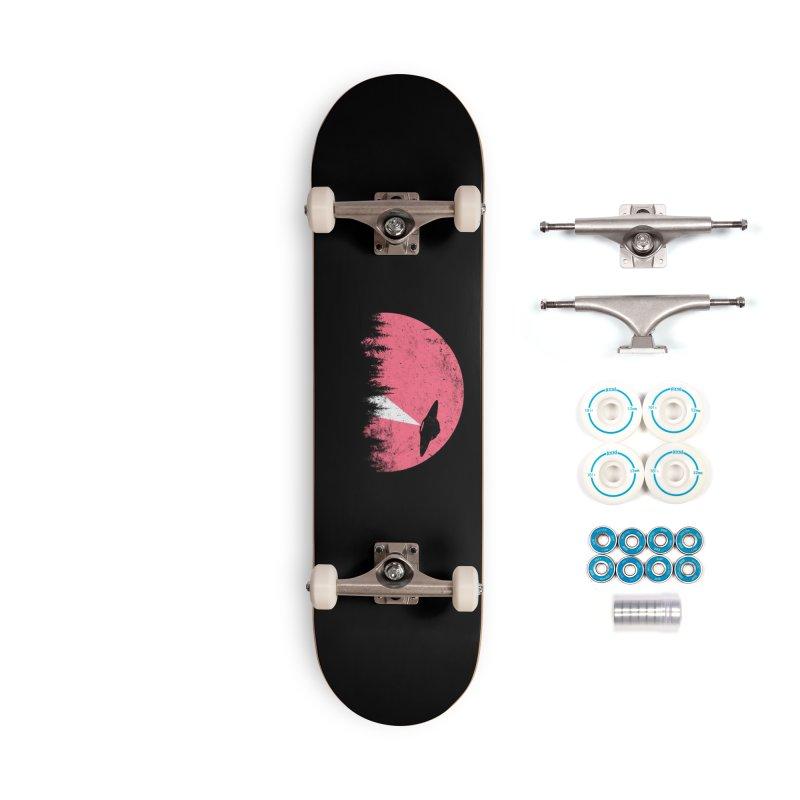 UFO in a pink night Accessories Skateboard by sustici's Artist Shop
