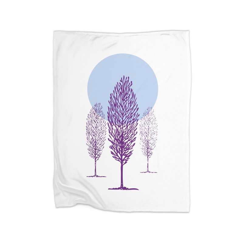 trees in the snow Home Blanket by sustici's Artist Shop