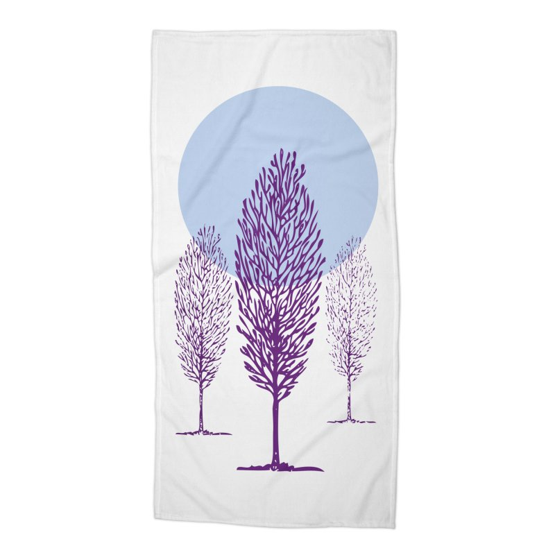 trees in the snow Accessories Beach Towel by sustici's Artist Shop