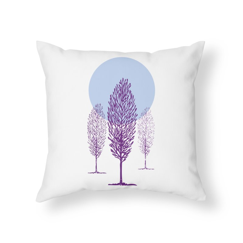 trees in the snow Home Throw Pillow by sustici's Artist Shop