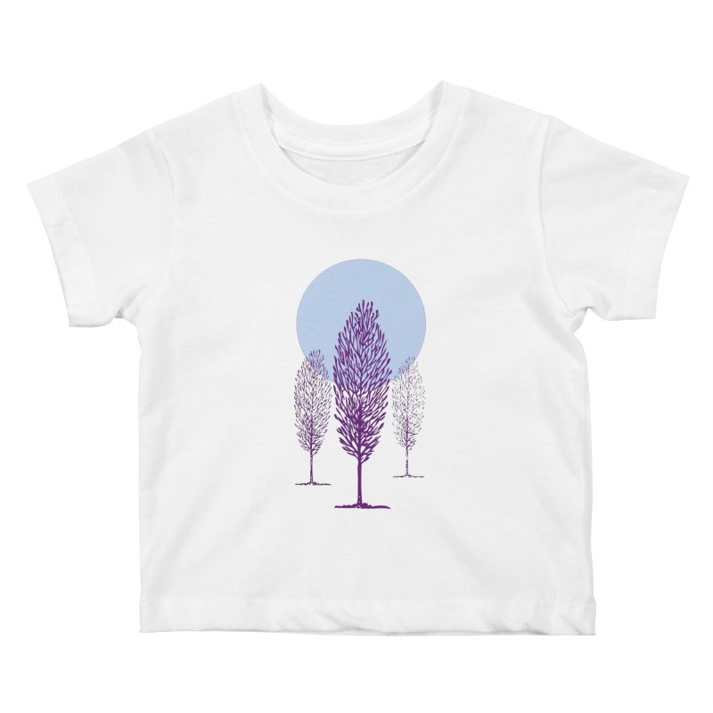 trees in the snow Kids Baby T-Shirt by sustici's Artist Shop