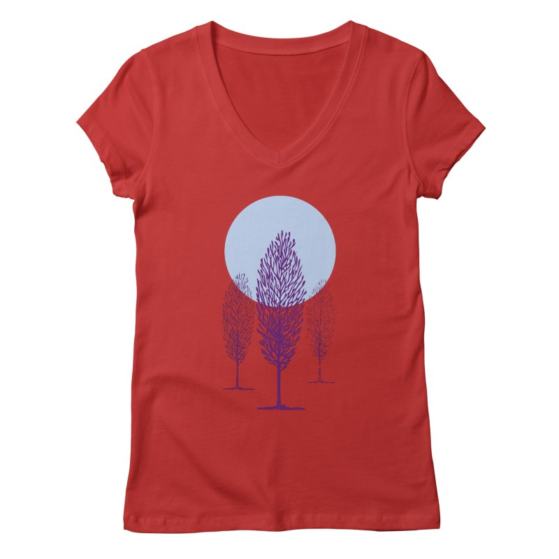 trees in the snow Women's V-Neck by sustici's Artist Shop