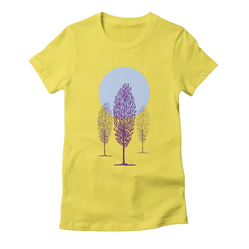 trees in the snow Women's Fitted T-Shirt by sustici's Artist Shop