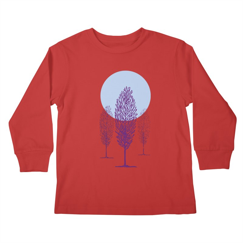 trees in the snow Kids Longsleeve T-Shirt by sustici's Artist Shop