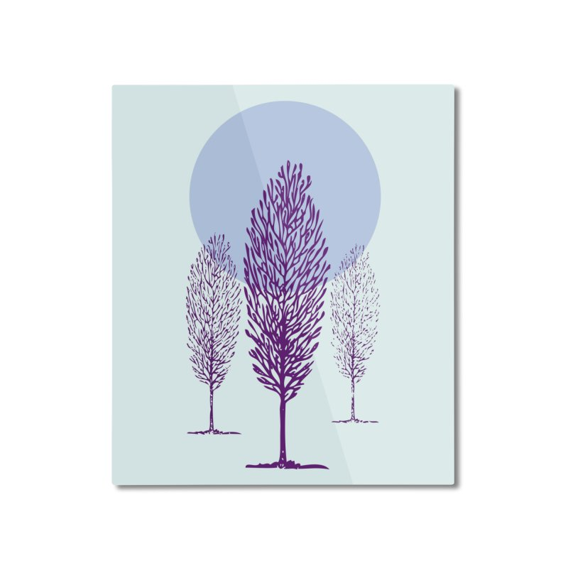 trees in the snow Home Mounted Aluminum Print by sustici's Artist Shop