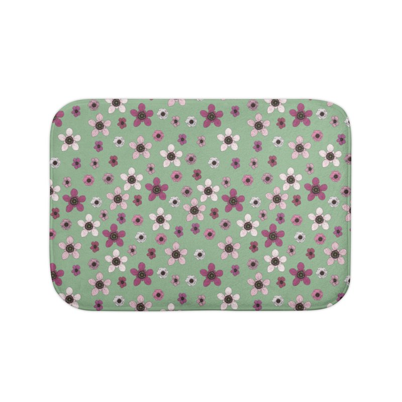 Tea Tree Flowers Home Bath Mat by Svaeth's Artist Shop