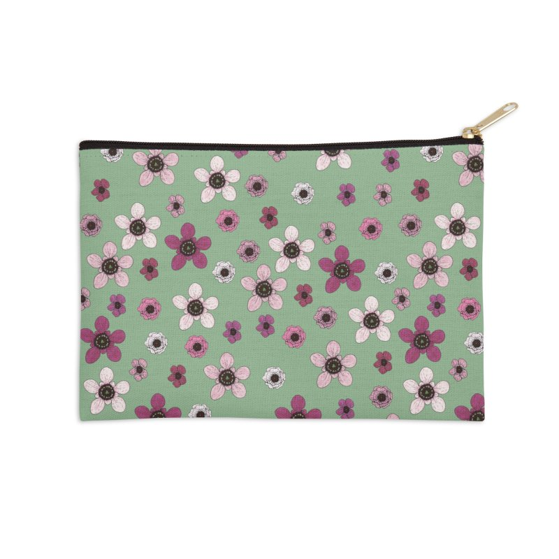 Tea Tree Flowers Accessories Zip Pouch by Svaeth's Artist Shop