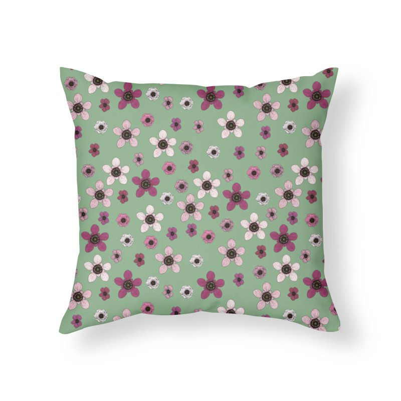 Tea Tree Flowers Home Throw Pillow by Svaeth's Artist Shop