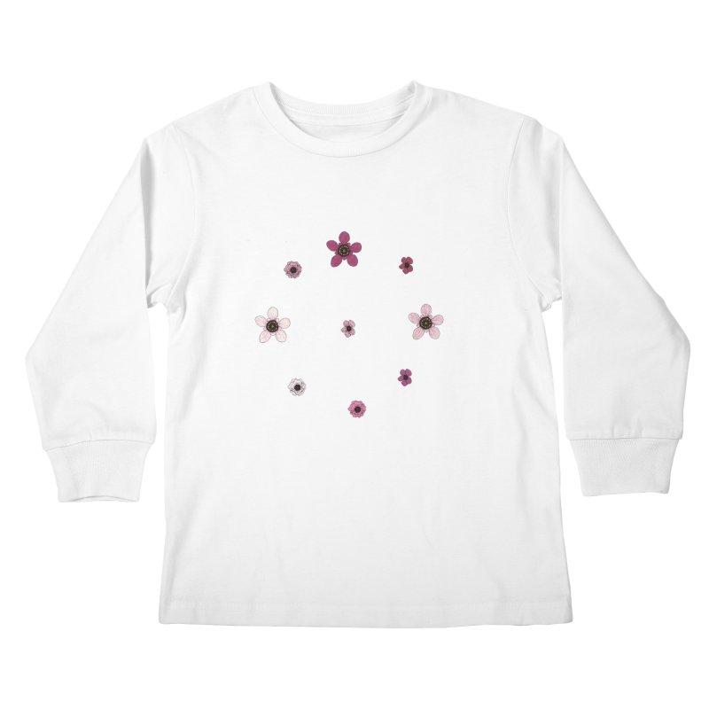 Tea Tree Flowers Kids Longsleeve T-Shirt by Svaeth's Artist Shop
