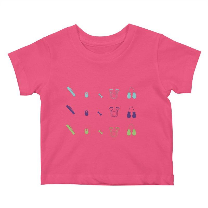 Workout Equipment Kids Baby T-Shirt by Svaeth's Artist Shop
