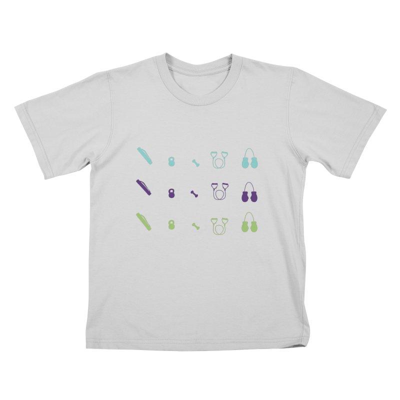 Workout Equipment Kids T-Shirt by Svaeth's Artist Shop