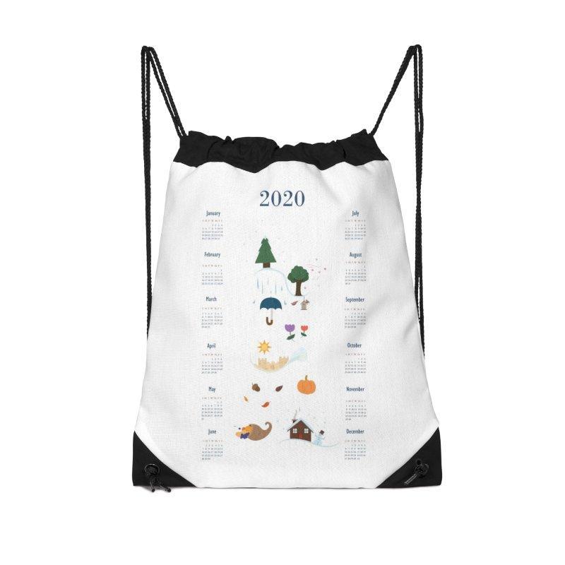 Seasons through the Year - 2020 Calendar Accessories Drawstring Bag Bag by Svaeth's Artist Shop