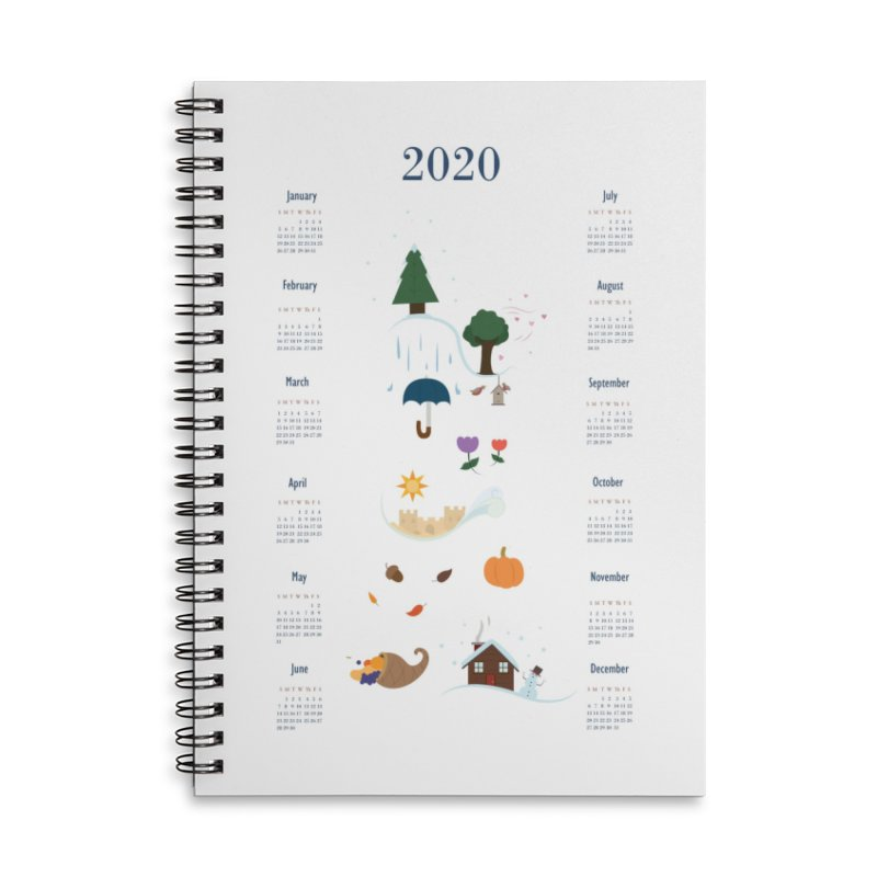 Seasons through the Year - 2020 Calendar Accessories Lined Spiral Notebook by Svaeth's Artist Shop