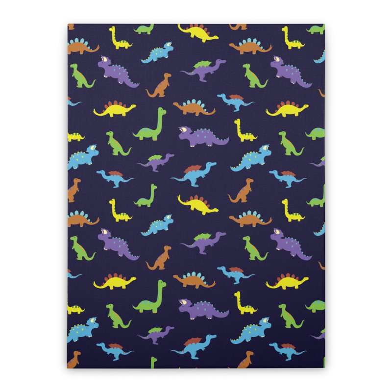 Playful Dinosaurs Home Stretched Canvas by Svaeth's Artist Shop