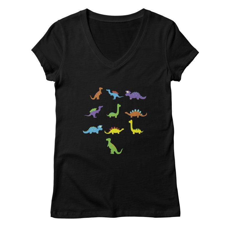 Playful Dinosaurs Women's V-Neck by Svaeth's Artist Shop