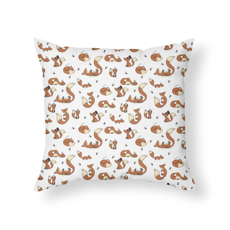Little Foxes Home Throw Pillow by Svaeth's Artist Shop