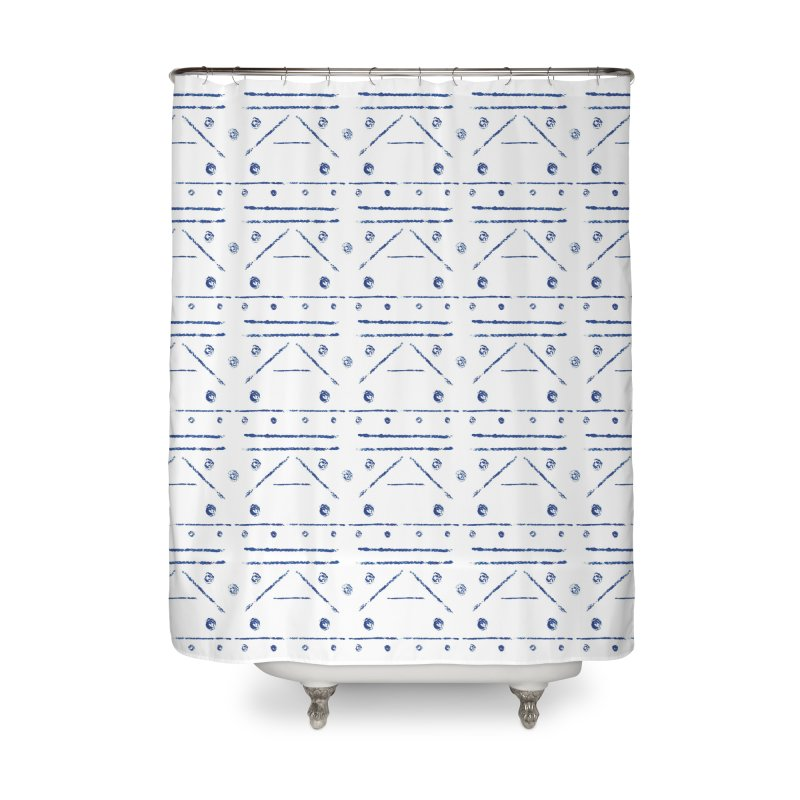 Geometric Blue Home Shower Curtain by Svaeth's Artist Shop