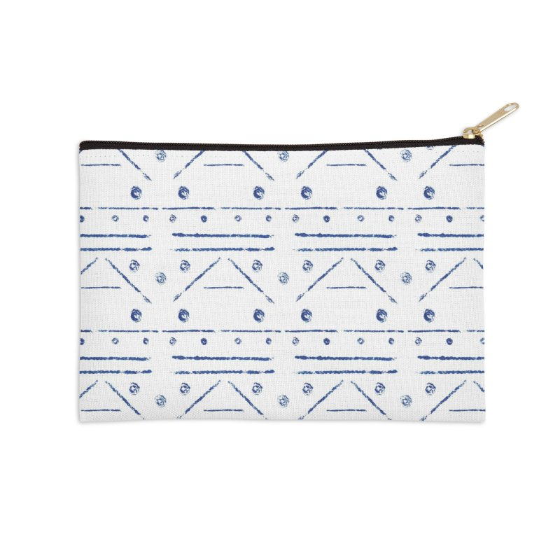 Geometric Blue Accessories Zip Pouch by Svaeth's Artist Shop