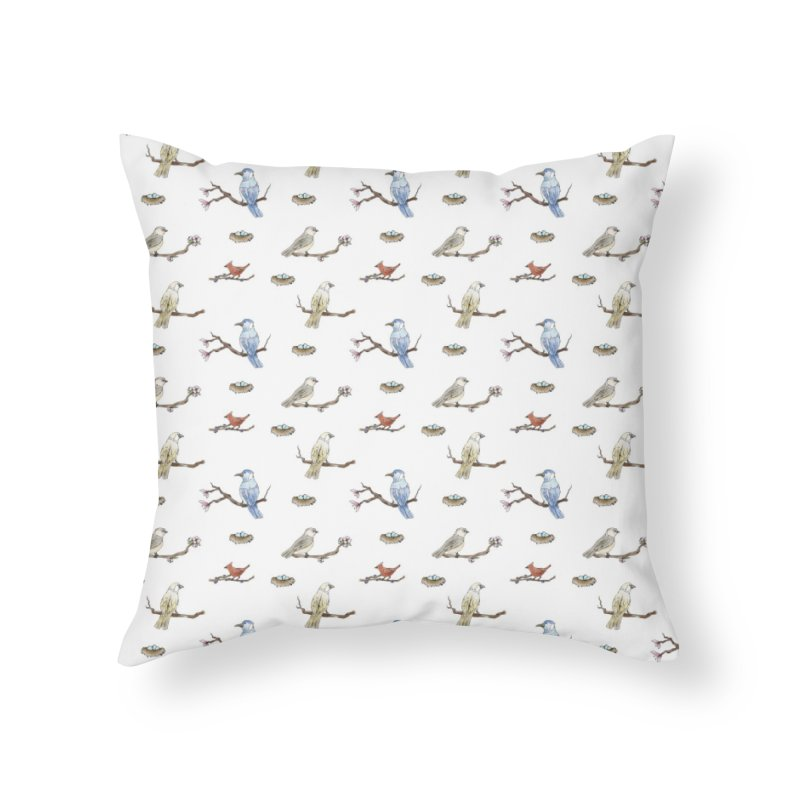 Spring Birds Home Throw Pillow by Svaeth's Artist Shop